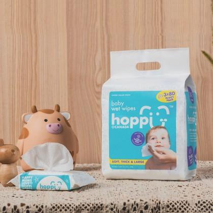 HOPPI BABY WET WIPES - SENSITIVE (3X80'S) 1440G *BUY 1 FREE 1 ! ! !