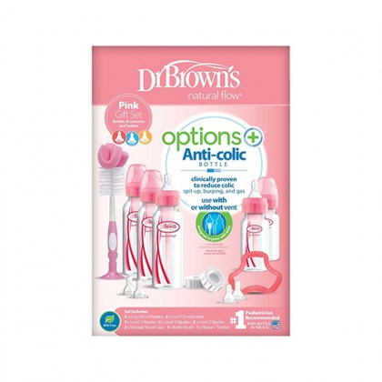 Options+ PP Narrow Bottle PINK Gift Set  (3x250 ml & 2x120 ml bottles, 1 Pink Flexees Teether, 2x L2 & L3 nipples, 1 Pink bottle brush, 2 storage caps, 3 cleaning brushes)