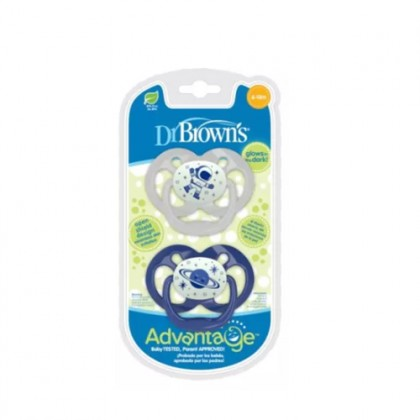 Advantage Pacifier - Stage 2, Glow in the Dark, 2-Pack
